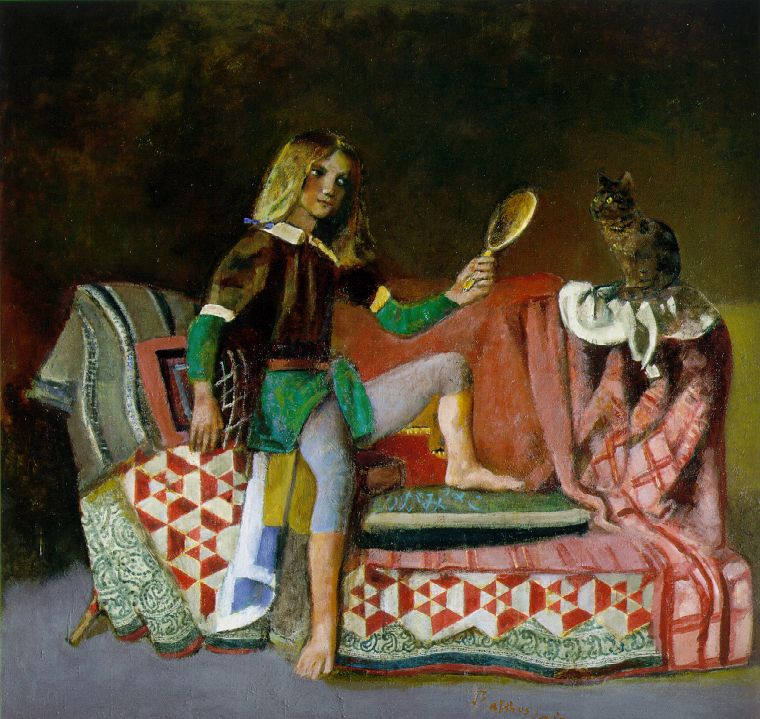 Balthus: The Cat In The Mirror (c. 1990) | from Wikiart (fair use)