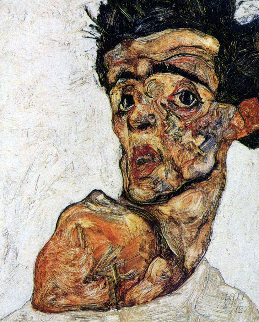 Egon Schiele: Self-Portrait with Naked Shoulder (1912)