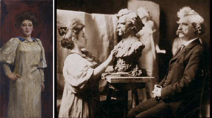 Teresa Feodorowna Ries: Self-portrait (1902) and painting Mark Twain (1897)