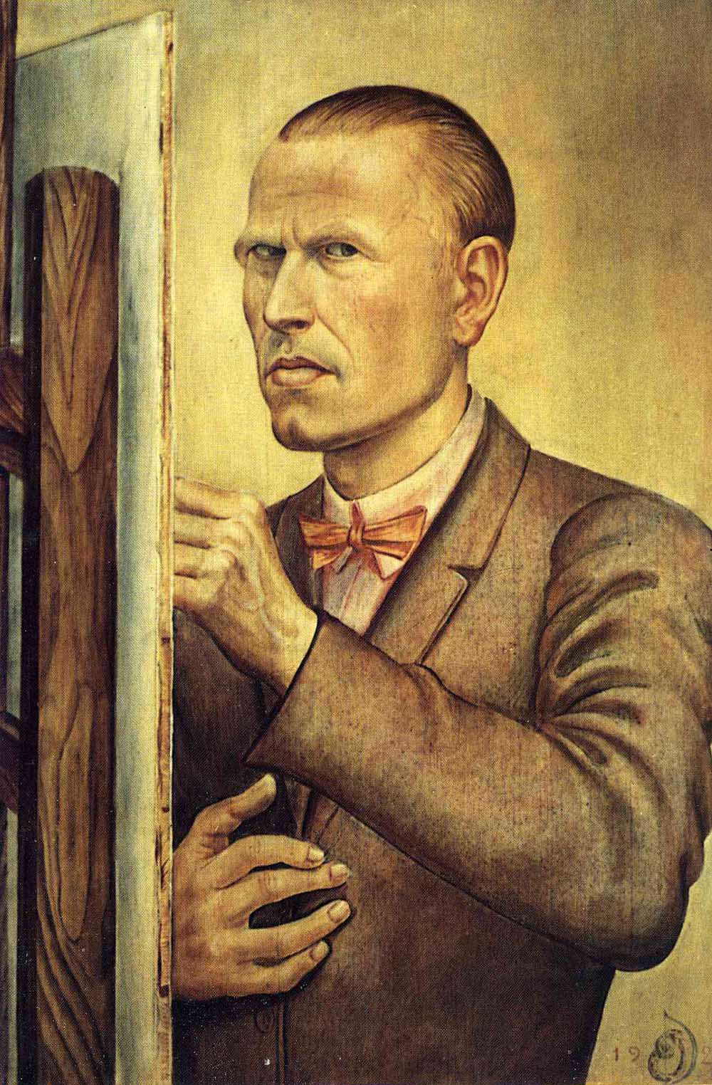 Otto Dix: Self-portrait with easel (1926)