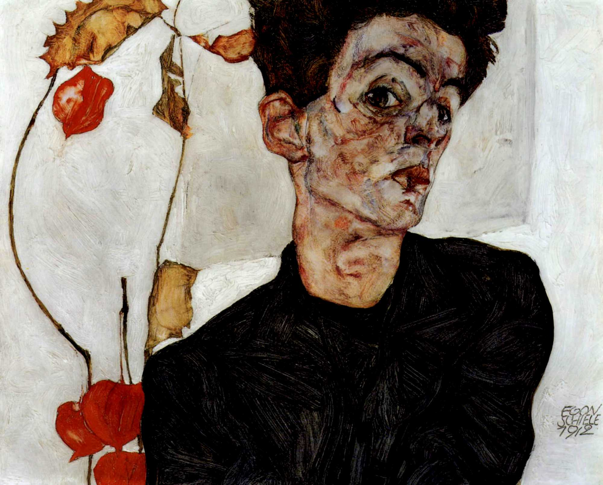 Egon Schiele: Self-portrait with Chinese Lantern Plant (1912)