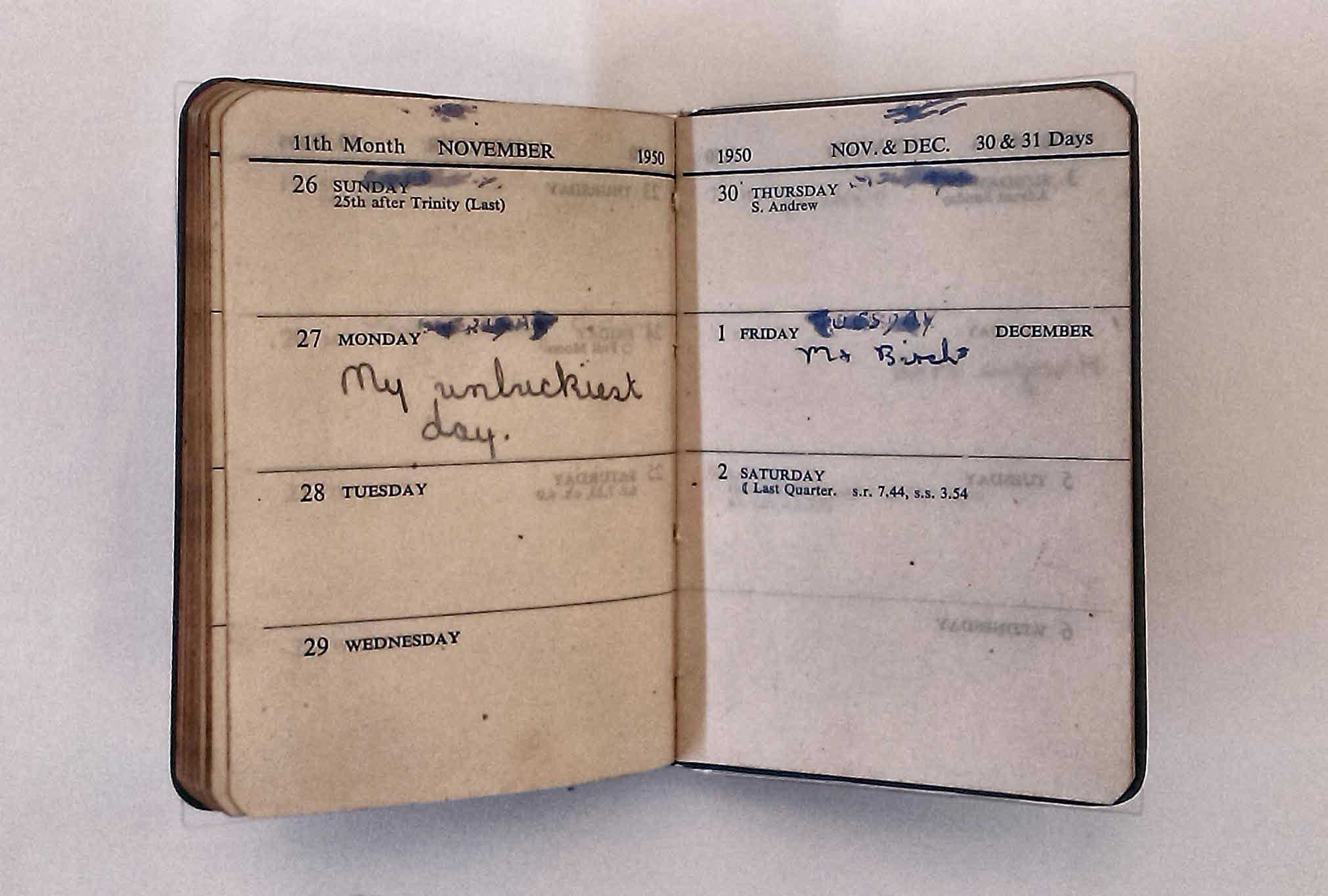 Photo of a diary from The Great Diary Project exhibition