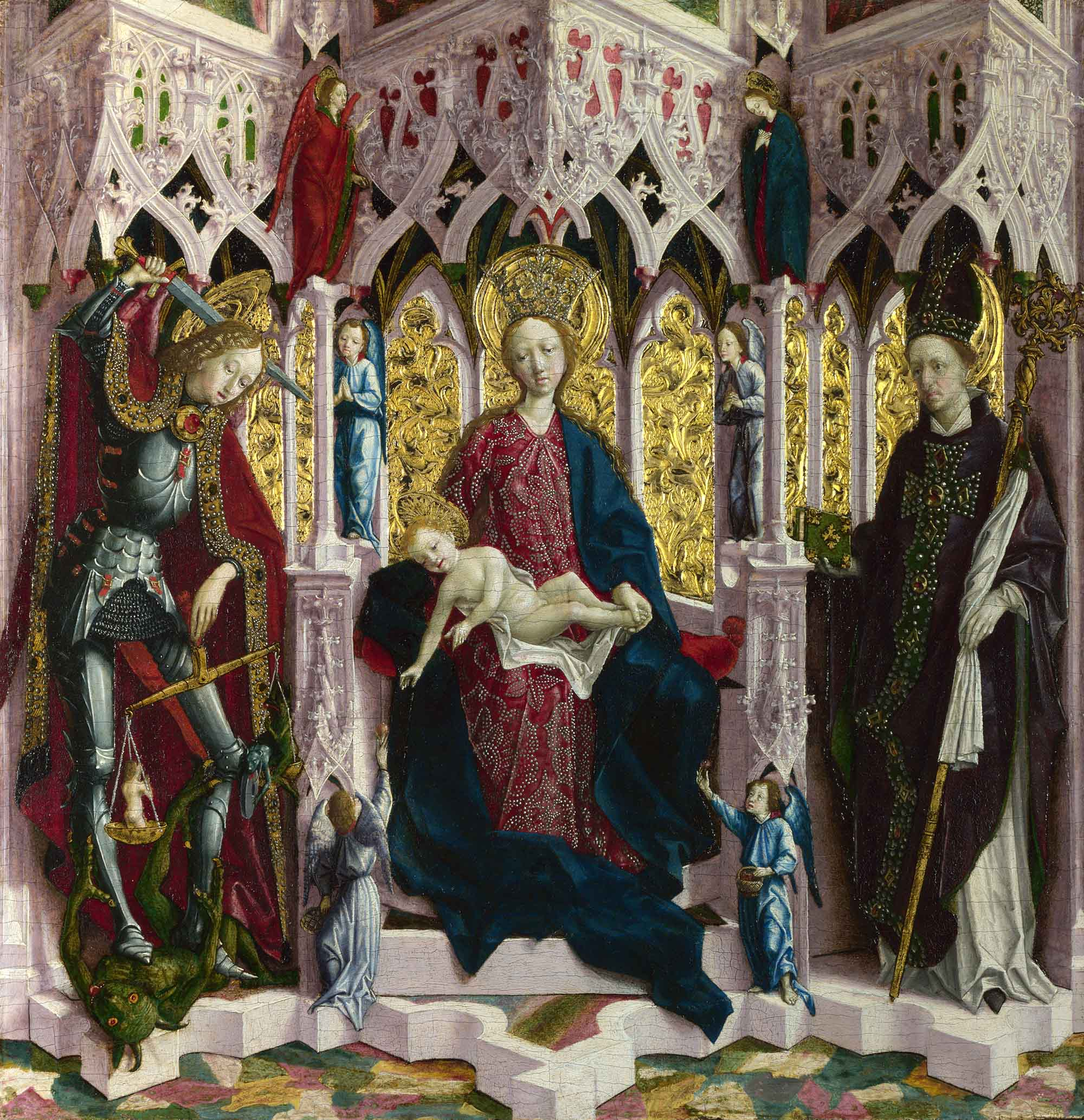 The Virgin and Child Enthroned with Angels and Saints, attributed to Michael Pacher (approx. 1475) | © The National Gallery, London (fair use)